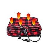 JanTeelGO Manta calefaccionada para Autos, 12 Volt eléctrico Fleece Temperatura Constante Anti-sobrecalentamiento Manta Caliente para Camiones vehículo Barcos RV, Viaje de Invierno Uso (Negro Rojo)