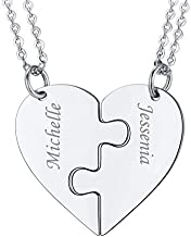 U7 BFF Necklace for 2/3/5/6/7/8 Stainless Steel Chain Personalized Family Love/Friendship Jewelry Set Personalized Engraving Heart Pendants Best Friends Necklaces (Set of 2 Customized)