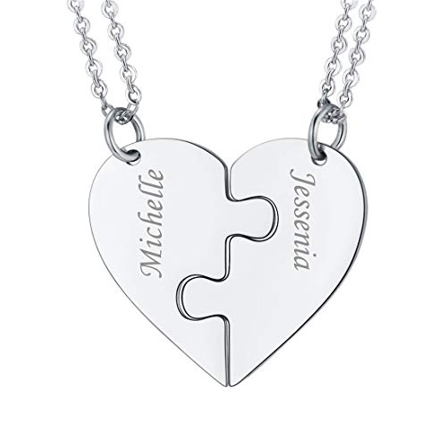 Customized Heart Shape Jigsaw Pendant Necklace, Personalized Text/Name, 2 Pieces Puzzle Pendants, Make Up A Heart, 2 Pieces Suit Necklace, Stainless Steel Gift Jewellery Couple/Friend/Family Necklace