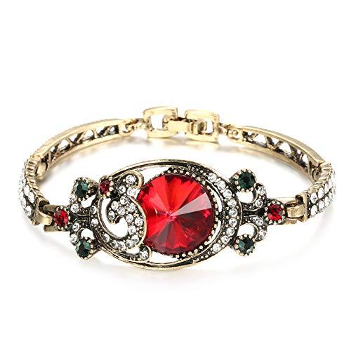 Pulseras de lujo vintage de satélites verdes de color oro antiguo colorido cristal turco pulseras para las mujeres Bijouterie 2020 nuevo rojo