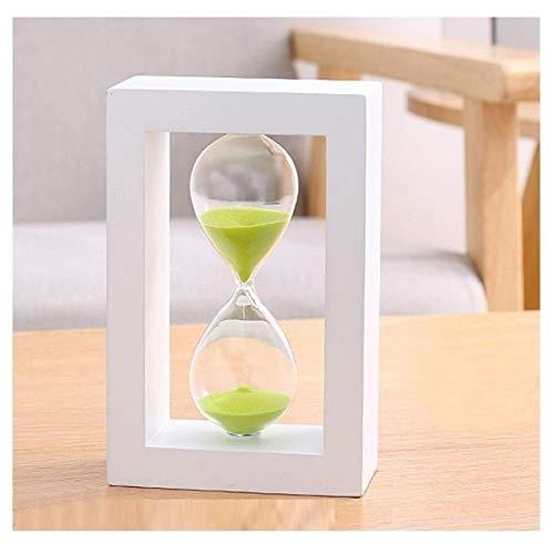 JINSUO NWXZU Sanduhr, weißer Holzrahmen Hourglaßtimer, 30/45 / 60 Minuten Möbel Dekoration Dekorationen, kreative Geschenke Geburtstags-Geschenke (Color : Green, Size : 30 Minutes)