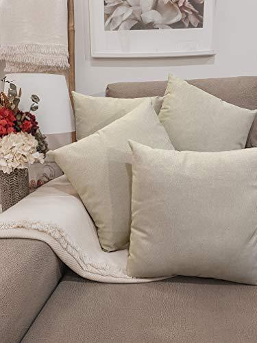 Pack 4 fundas de cojines para sofá EFECTO LINO suave, 16 COLORES fundas para almohada sin relleno, cojín decorativo grande para cama, salón. Almohadón elegante en varios tamaños.(Lino, 45x45cm)