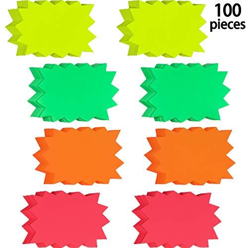 100 Stück Fluoreszierende Zeichen Platzen Papier Zeichen Hell Display Etikette Karten für Ladengeschäft Party Gefallen, 4 Leuchtende Farben (3 x 4.1 Zoll)