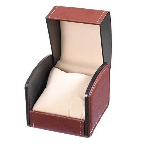 ICERIO Uhrenbox, PU Leder Armband Box Geschenkbox Schmuckschatulle mit Kissen, ideal für Weihnachten Neujahr Geburtstagsgeschenk(Kaffee)
