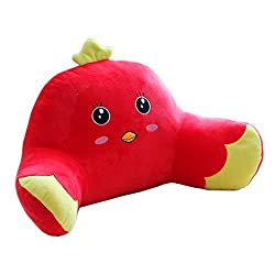 Mlotus Cute Chick Kids Bedrest Pillow Red Bed Rest Pillows with Arms for Reading in Bed Chairs