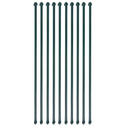 Gartenpfosten aus Metall, Länge 1 m, Grün, 10 Stück