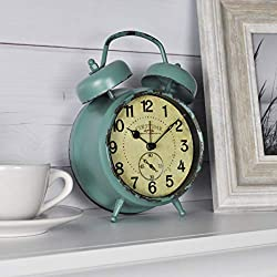 FirsTime & Co. Teal Double Bell Alarm Tabletop Clock, 5 x 7, Aged