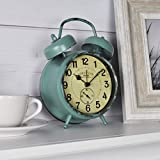 FirsTime & Co. Teal Double Bell Alarm Tabletop Clock, 5' x 7', Aged
