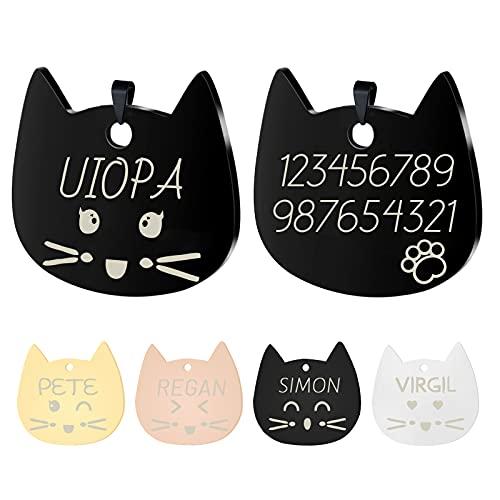 Uiopa Chapas para Gatos, Personalizado Etiquetas de Identificación de Acero Inoxidable para Gato Chapa Perro Grabada, Placa Perro Grabada para Collar Gato Perro Mascota (Negro, Grande)