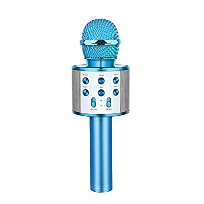Fun Toys for 5-12 Year Old Boys, Dreamingbox Bluetooth Microphone Gifts for Kids 8-12 Microphone Portable Toys for 5-12 Year Old Girls Boys Blue