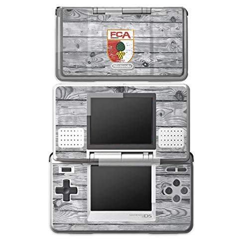 DeinDesign Skin kompatibel mit Nintendo DS Aufkleber Sticker Folie FC Augsburg Wappen Holz Look