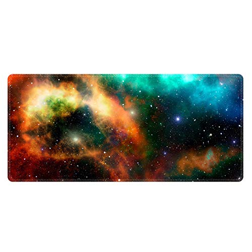 Meffort Inc Extra Large Extended Gaming Desk Mat Non-Slip Rubber Pads Stitched Edges Mouse Pad 35.4 x 15.7 inch - Milkyway Design