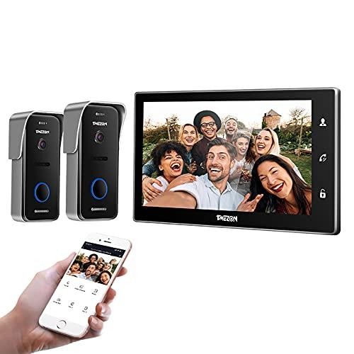 TMEZON WLAN Video Türsprechanlage Türklingel Gegensprechanlage System, 10 Zoll WLAN Monitor mit Verdrahteter Kamera im Freien(1M2C), Berührungsempfindlicher Bildschirm,Fernbedienung Türöffner und App