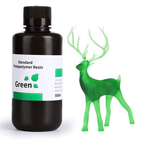 ELEGOO LCD UV 405nm Impresora 3D Resina Rápida para LCD Impresora 3D 500g Fotopolímero Resina Verde Claro
