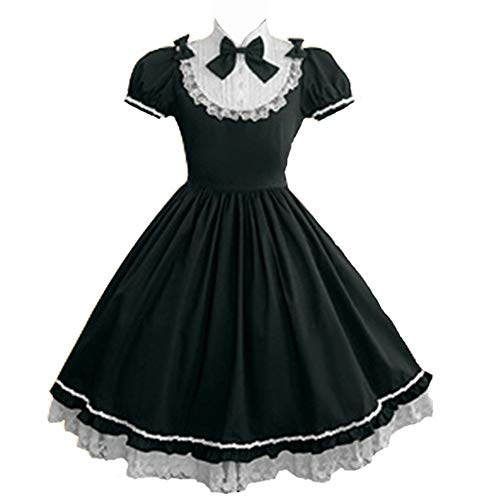 Women Girls Classic Princess Lolita Dress Halloween Cosplay Maid Dresses Anime Party Costumes S Black