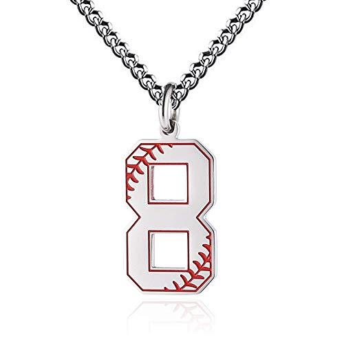 Baseball Initial Anhänger Halskette Inspiration Baseball Jersey Nummer 0-9 Charms Edelstahl Halskette (8 - Silber)