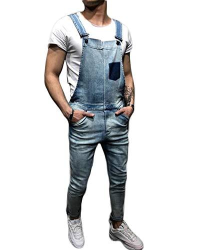 She Charm Denim Salopette pour Hommes, Salopette Streetwear Pocket Jarretière Pantalon,Light Blue,XL