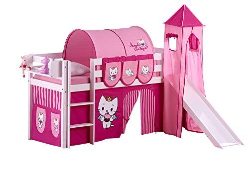 Lilokids Set Angebot - Spielbett JELLE Angel Cat Sugar mit Rutsche - Hochbett Weiß - mit Vorhang, Turm, Tunnel und Taschen