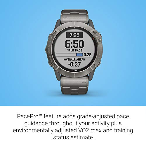 Garmin Fenix 6X Pro Solar, Premium Multisport GPS Watch with Solar Charging, features Mapping, Music, Grade-Adjusted Pace Guidance and Pulse Ox Sensors, Titanium 6