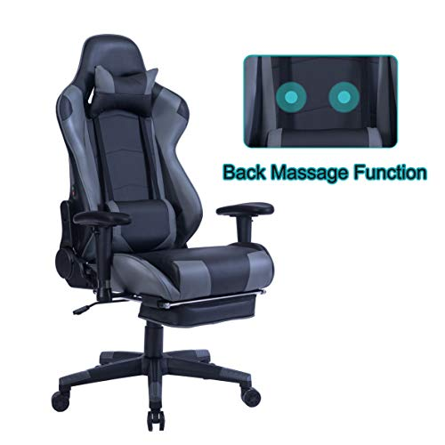 HEALGEN Back Massage Gaming Chair with Footrest,PC Computer Video Game Racing Gamer Chair High Back Reclining Executive Ergonomic Desk Office Chair with Headrest Lumbar Support Cushion GM002(Grey) chairs Dining Features Game Kitchen Video