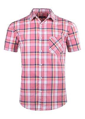 AVANZADA Men's Button Down Plaid Short Sleeve Work Casual Western Shirt
