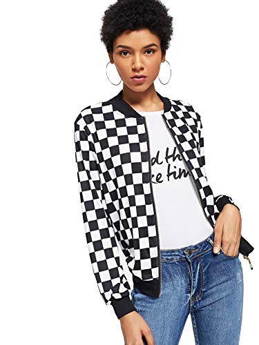 WDIRARA Women's Zip Front Plaid Print Long Sleeve Stand Collar Casual Jacket Black and White S