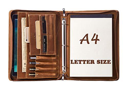 Padfolio with 3 Ring Binder(1'' O Ring), Padfolio Double Zipper, Resume Portfolio for Men/Women, Leather Portfolio Folder, Brown