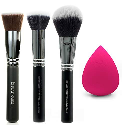 Flawless Face 4pc Makeup Brush Set – Beauty Junkees Professional Make Up Brushes Latex Free Egg Blender Sponge for Foundation Stippling, Blending, Buffing Cosmetics, Affordable, Vegan