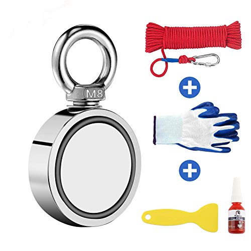 """Wukong Fishing Magnet with 66ft Rope & Glove Set, 350 LBS Pulling Force Super Strong Magnet for Magnetic Fishing, Treasure Hunting Underwater - 1.89"""" Diameter Magnet with 66ft Rope & Glove,48-3"""