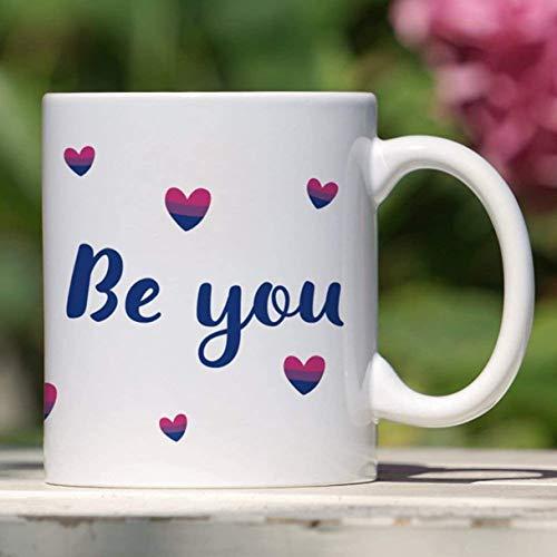 11 oz Koffiemok, Theekopje, Biseksuele Pride Mok - Be You - Biseksuele Vlag - Bi Pride Heart - LGBT Gifts