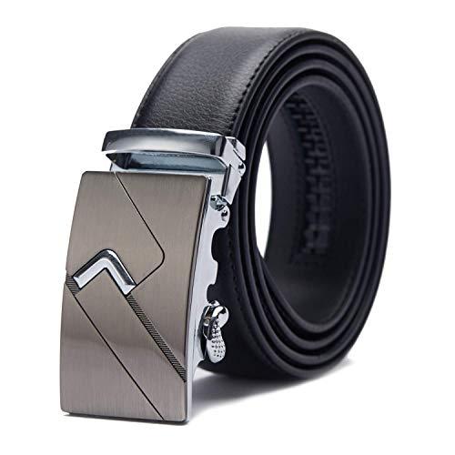 TANGCHAO Cintura Uomo, Cintura a Cricchetto da Uomo in Pelle con Fibbia Scorrevole Automatica 35mm Larghezza Nero 5-HEI-ZD 135CM