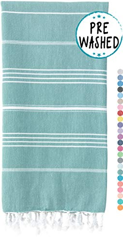 WETCAT Original Turkish Beach Towel (39 x 71) - Prewashed Beach Blanket, 100% Cotton - Highly Absorbent, Quick Dry and Ultra-Soft - Washer-Safe, No Shrinkage - Stylish, Eco-Friendly - [Teal]