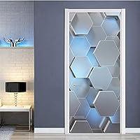 QUDMST 現代の3Dステレオ幾何学的なドア壁画PVC自己接着防水ウォールステッカーリビングルームクリエイティブインテリアドアステッカーポスター-77x200cm
