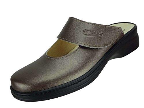 Algemare Damen Clog mit Absatz Hausschuh aus Nappino mit waschbarem Sani-pur Wechselfußbett Pantolette 59482_9494 Sandalette, Größe:41 EU