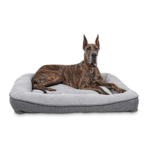 """PETCO Brand - Harmony Cozy Cottage Gray Lounger Dog Bed, 48"""" L X 36"""" W X 6"""" H, X-Large"""