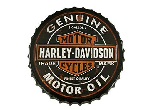 HARLEY DAVIDSON véritable huile moteur, rond bière bouteille PAC, en relief Plaque en métal, panneau mural décoratif, dia 40 cm par 66retro...