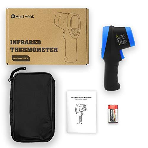HoldPeak Thermometre Infrarouge HP-2732 Pyromètre Thermomètre Numérique sans Contact pour Pistolet à Infrarouge de -58℉~2732℉ (-50℃~1500℃), D:S=30:1, Rétro-éclairé, émissivité Réglable pour Fonte
