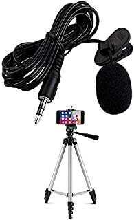 Drumstone Mini Singing and Recording Mic Lavalier Coller Microphone Kit with Long Cable with Aluminium Adjustable Portable...