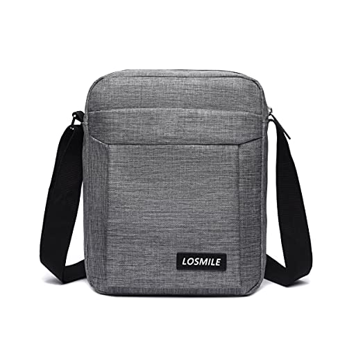 LOSMILE Bolso bandolera para hombre, bolso de hombro pequeño, bolso cruzado para hombro, bolso de hombro, bolso de mano para trabajo, negocio y vacaciones., gris, Large