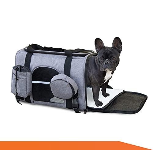 Bualma Hundetasche [Haustiere bis zum 10 kg], Hundetragetasche mit Schultergurt, Transportbox für kleine Hunde und Katzen | Hundebox Faltbar animiert für Auto/Zug/Flugzeug