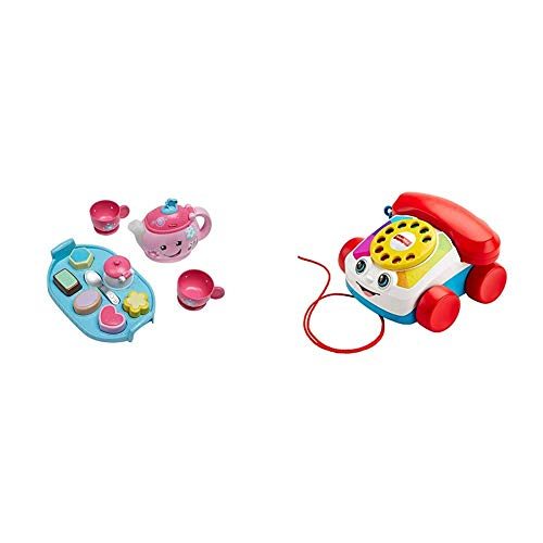 Fisher-Price DYM76 Laugh and Learn Sweet Manners Tea Playset & FGW66 Chatter Telephone, Toddler Pull Along Toy Phone with Numbers and Sounds for 1 Year Old