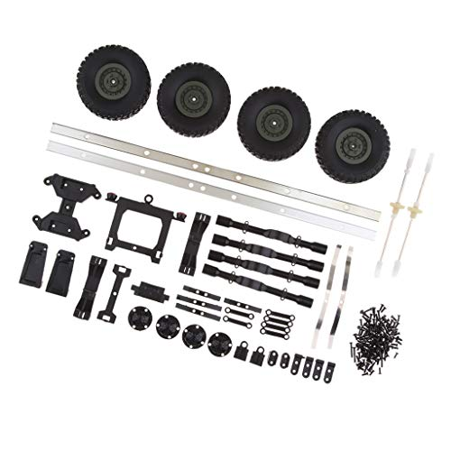 Flameer DIY RC Car Trailer Chassis with 4 Rubber Tyres for WPL 1/16 6WD RC Military Truck