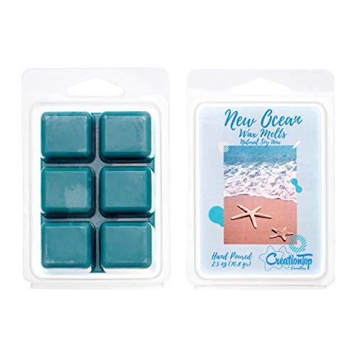 Scented Wax Melts Wax Cubes - Wax Warmer Cubes/Tarts - Soy Wax Air Freshener - Cinnamon, Pumpkin, Bamboo, Passion Fruit, Rosemary, Watermelon, Honey, Gardenia, French Rose (New Ocean)