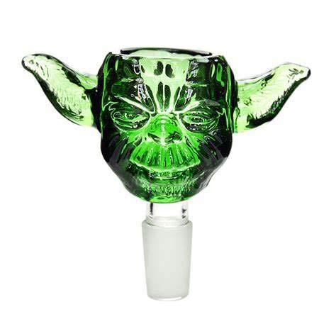 14mm 18mm Green Master Star Wars Yoda Head Glass Smoking Bowl Slider Male for Bongs (14mm Male)