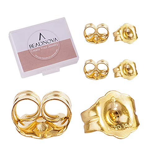 BEADNOVA 14k Gold Earring Backs for Studs Butterfly Safety Locking Earring Backs Replacements Push Back Earring Friction Earring Backs for Posts (6 Pieces)