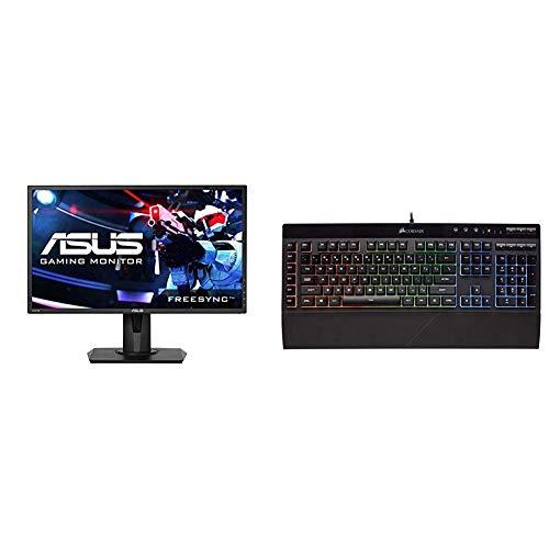 Asus VG245H 24 inchFull HD 1080p 1ms Dual HDMI, Black, 24-inch & Corsair K55 RGB Gaming Keyboard - Quiet & Satisfying LED Backlit Keys - Media Controls