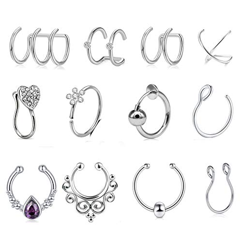 Mayhoop 12 Stück Fake Piercings Fake Nasenpiercing Ear Cuffs Fake Septum Ring Hoop Silber Fake Helix Lippen Piercing Ohrmanschette Ohrclips Non Piercing Schmuck