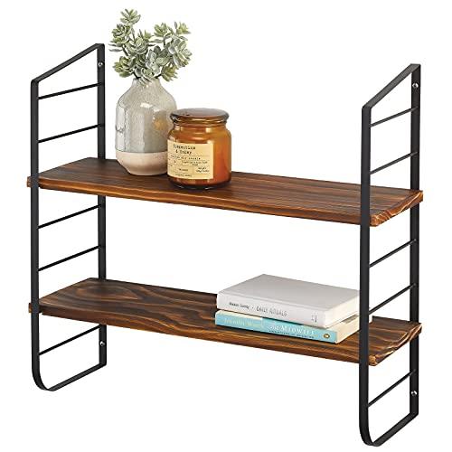 mDesign Moderna estantería de pared con 2 repisas – Estante de madera con soporte de metal resistente a la corrosión – Baldas flotantes para baño, cocina, despacho, dormitorio, etc. – negro y natural