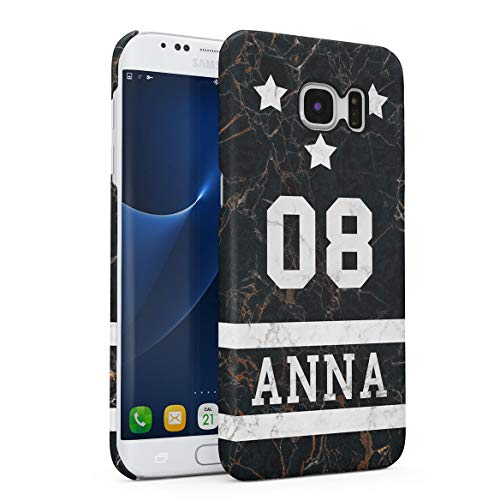 Personalizado Funda Protectora de Plástico Duro, para Samsung Galaxy S7 Edge Custom Surname Name Number Letter Text Initial Customized Black Onyx Marble Stone Negra Marmol Funda Delgada