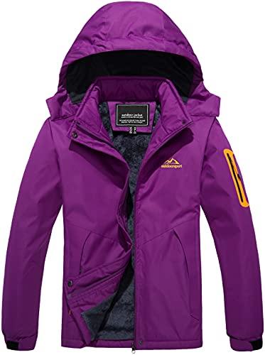 TACVASEN Damen Skijacke Warm Winterjacke Freizeitjacke Windjacke Winterwandern Softshell Outdoor Übergangsjacke, Violett